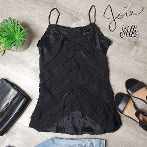 Joie 100% silk black teired ruffle top size Medium